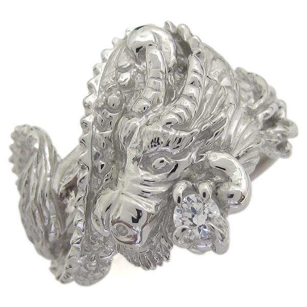 9日1:59迄 プラチナ メンズ ダイヤモンドリング 指輪 1月誕生石 ドラゴン