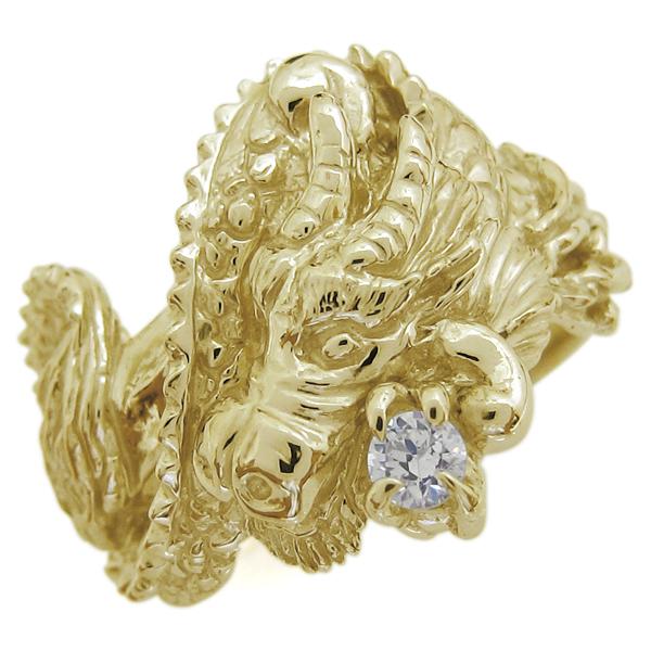 龍 ダイヤモンドリング メンズ 指輪 ドラゴン 18金