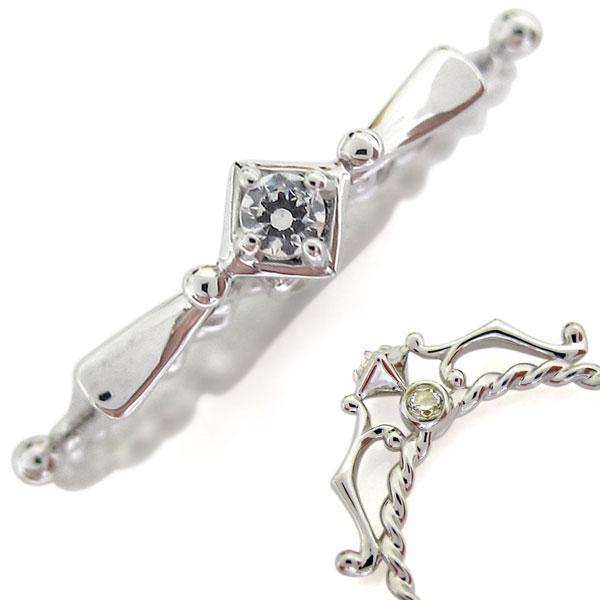 プラチナ 4月誕生石 アローリング 指輪 弓矢 ダイヤモンド