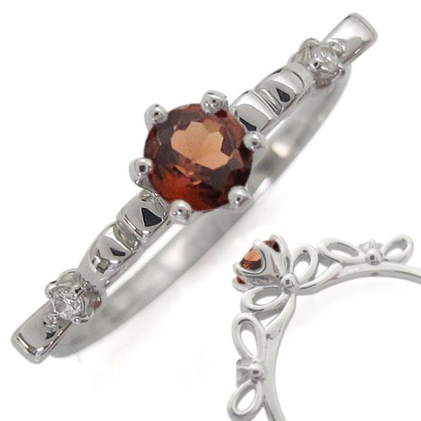 指輪 レディース おしゃれ プラチナリング ガーネット 婚約リボン 母の日 プレゼント