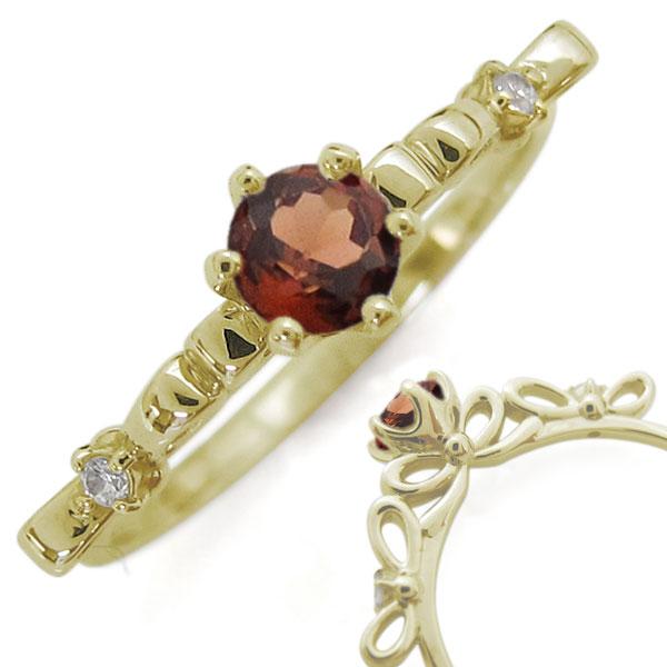 レディースリング リボン K18 ガーネット 指輪 リング 母の日 プレゼント