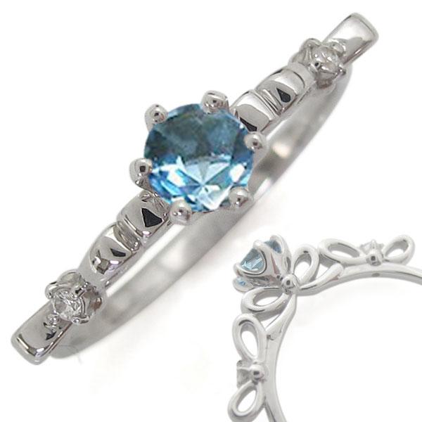 指輪 レディース おしゃれ プラチナリング ブルートパーズ リボン 母の日 プレゼント