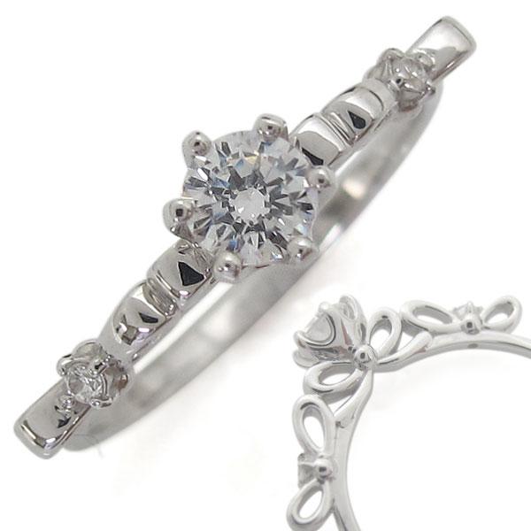 【10%OFFクーポン】5日23:59迄 指輪 レディース おしゃれ プラチナリング ダイヤモンド リボン 母の日 プレゼント
