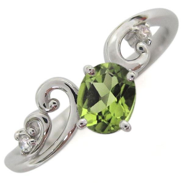 プラチナ ペリドット 唐草 リング 指輪 オーバル