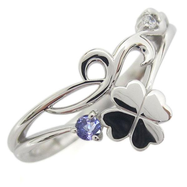 プラチナ レディースリング タンザナイト 唐草 クローバー V字デザイン 指輪 母の日 プレゼント