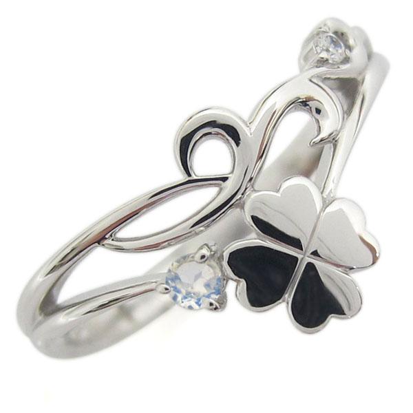 プラチナ レディースリング ロイヤルブルームーンストーン 唐草 クローバー V字デザイン 指輪 母の日 プレゼント
