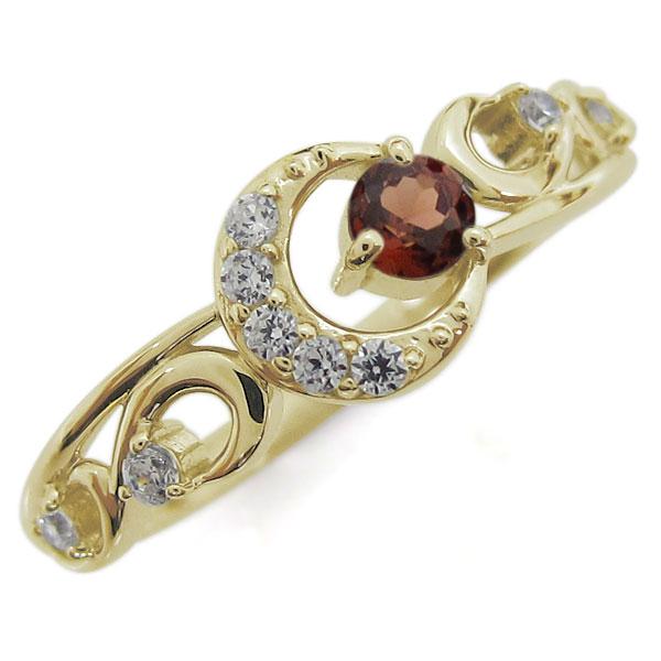 【10%OFF】4日20時~ ガーネット 指輪 K18 レディースリング 月 ムーンモチーフ 母の日 プレゼント