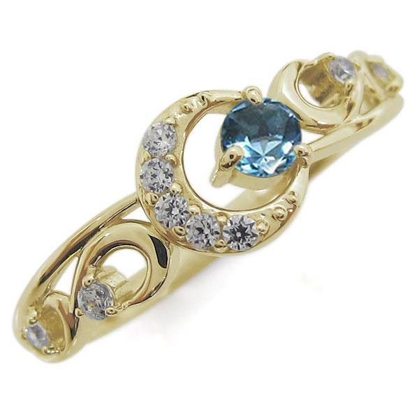【10%OFF】4日20時~ ブルートパーズ 指輪 K18 レディースリング 月 ムーンモチーフ 母の日 プレゼント