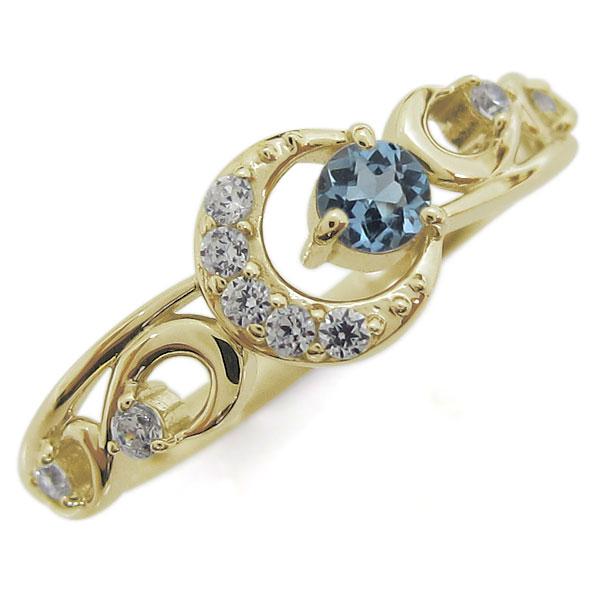 アクアマリンサンタマリア 指輪 K18 レディースリング 月 ムーンモチーフ 母の日 プレゼント