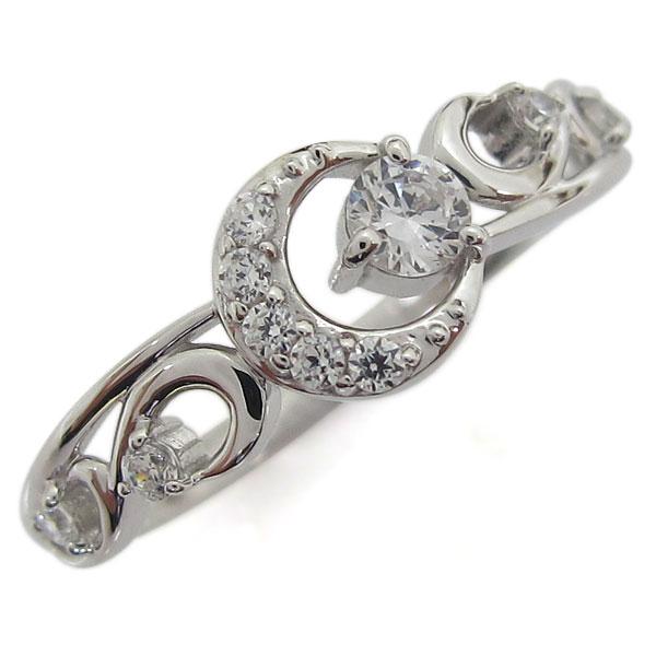 【10%OFF】4日20時~ プラチナ ダイヤモンドリング 月 ムーン レディース 指輪 母の日 プレゼント