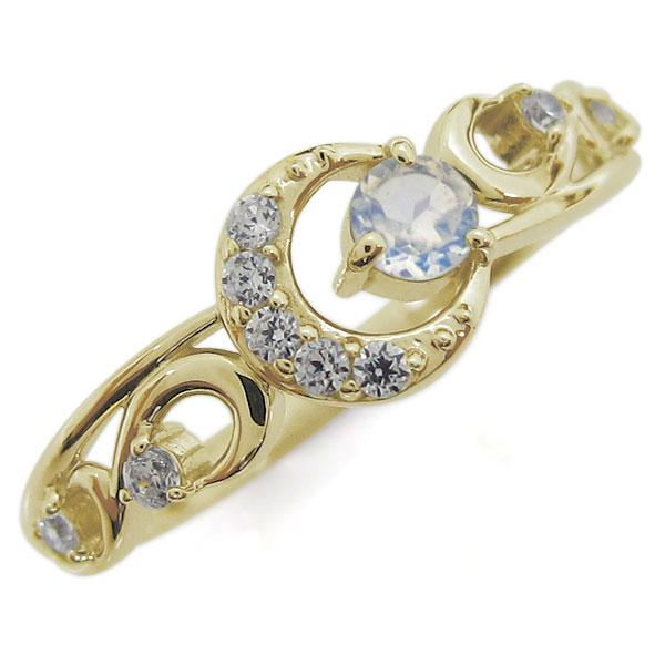 ロイヤルブルームーンストーン 指輪 K18 レディースリング 月 ムーンモチーフ 母の日 プレゼント