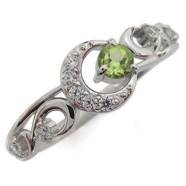 プラチナ ペリドットリング 月 ムーン レディース 指輪 母の日 プレゼント
