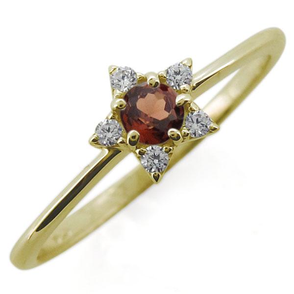 送料無料 1月誕生石 星 エンゲージリング 婚約指輪 レディースリング K10 ガーネット エンゲージリング 星モチーフ スター 婚約指輪 10金