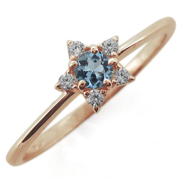 9/11 1:59迄18金 アクアマリンサンタマリアリング スター 星 3月誕生石 婚約指輪