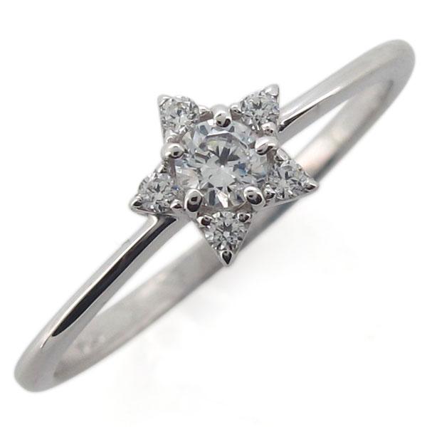 プラチナ 星 レディースリング ダイヤモンド 指輪 スターリング 母の日 プレゼント