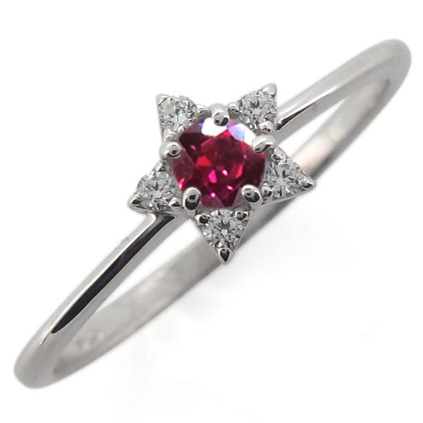 プラチナ 星 レディースリング ルビー 指輪 スターリング 母の日 プレゼント