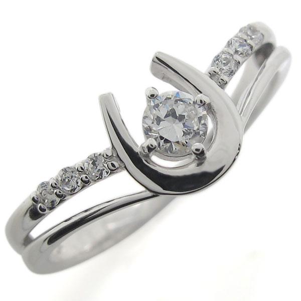 プラチナ 4月誕生石 ホースシュー 馬蹄 指輪 ダイヤモンド