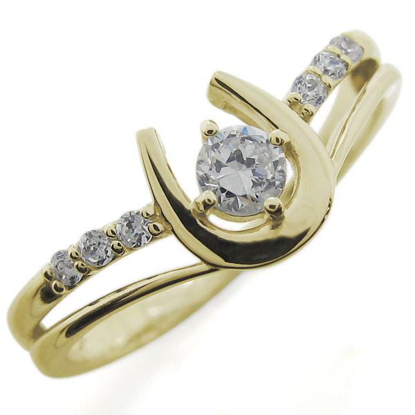 18金 ダイヤモンドリング 馬蹄 ホースシュー レディース 母の日 プレゼント