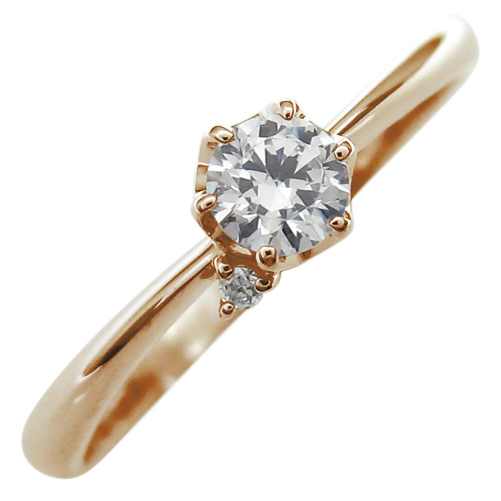 ファランジリング ダイヤモンド リング 一粒 指輪 10金 ピンキーリング