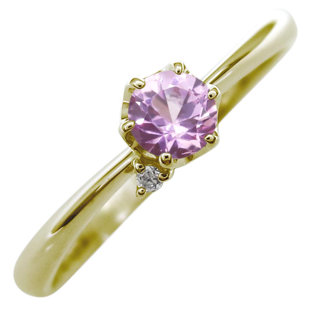 ファランジリング ピンクサファイア リング K18 指輪 ピンクサファイア ピンキーリング