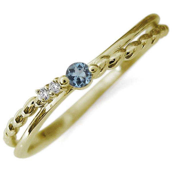 【10%OFF】4日20時~ アクアマリンサンタマリア 華奢 リング 18金 指輪 ピンキーリング