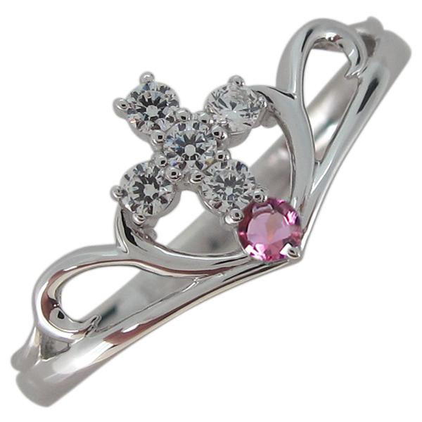 ピンクトルマリン 指輪 クロス レディース V字リング プラチナ 母の日 プレゼント