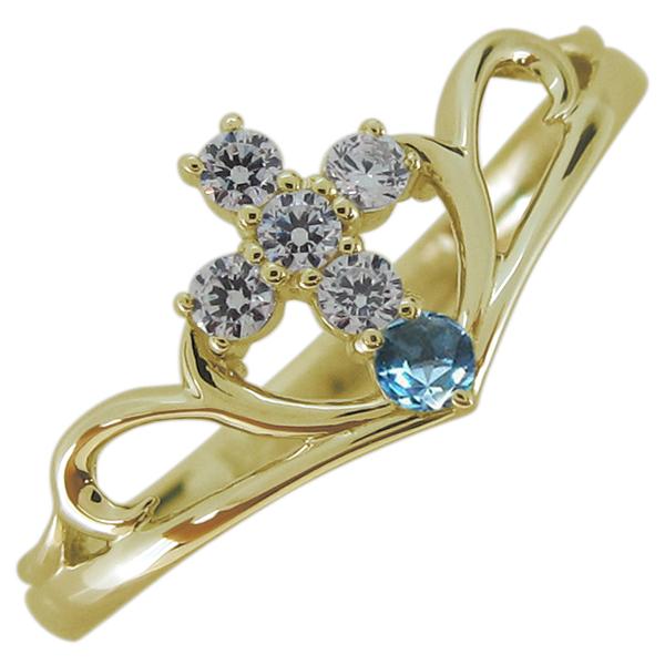 指輪 誕生石 クロスモチーフ レディースリング 10金 V字リング 母の日 プレゼント