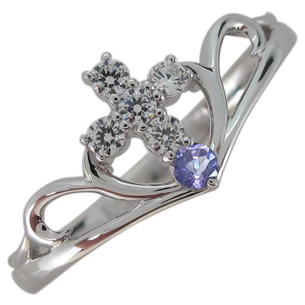 クロス レディース 指輪 誕生石 リング プラチナ V字リング 母の日 プレゼント