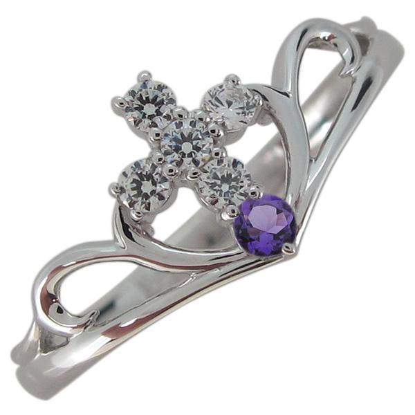 アメジスト 指輪 クロス レディース V字リング プラチナ 母の日 プレゼント