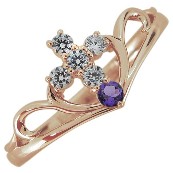 指輪 クロス アメジスト レディースリング V字リング 10金 母の日 プレゼント