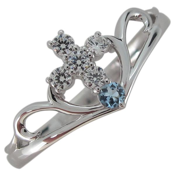 アクアマリンサンタマリア 指輪 クロス レディース V字リング プラチナ 母の日 プレゼント