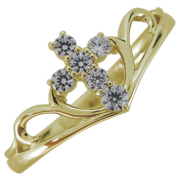 【10%OFF】4日20時~ レディースリング 4月誕生石 ダイヤモンド クロス 指輪 18金 リング 母の日 プレゼント