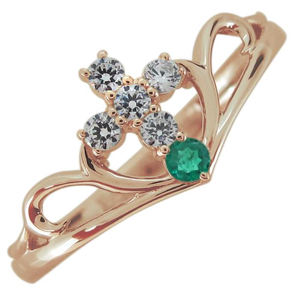 指輪 クロス エメラルド レディースリング V字リング 10金 母の日 プレゼント