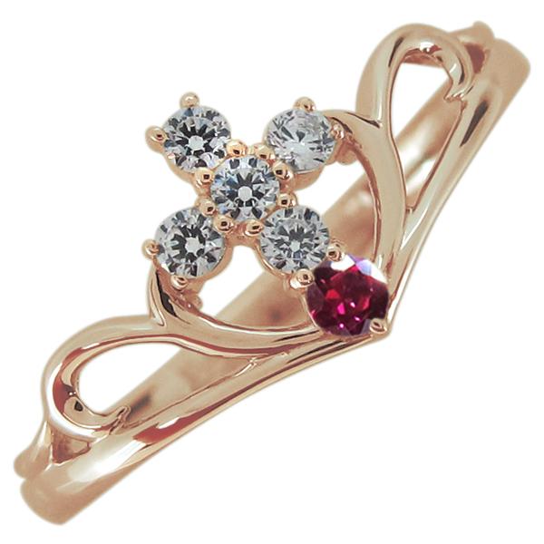 指輪 クロス ルビー レディースリング V字リング 10金 母の日 プレゼント