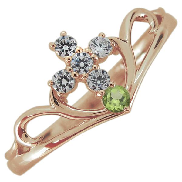 指輪 クロス ペリドット レディースリング V字リング 10金 母の日 プレゼント