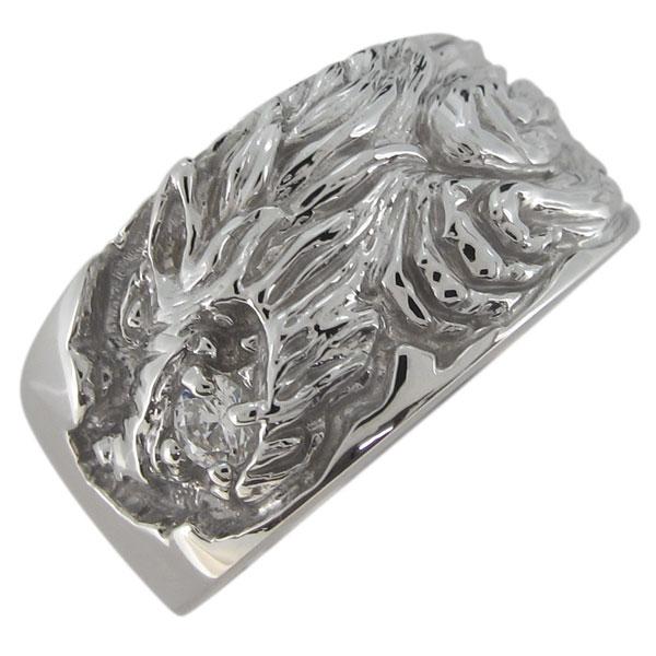 送料無料 狼 メンズ 指輪 ダイヤモンド プラチナリング オオカミ オオカミリング メンズ 指輪 ダイヤモンド 狼 4月誕生石 プラチナ