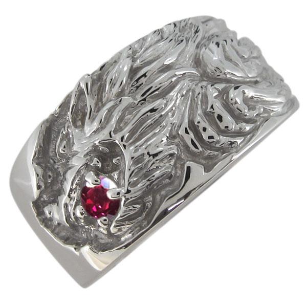 オオカミリング メンズ 指輪 ルビー 狼 7月誕生石 プラチナ