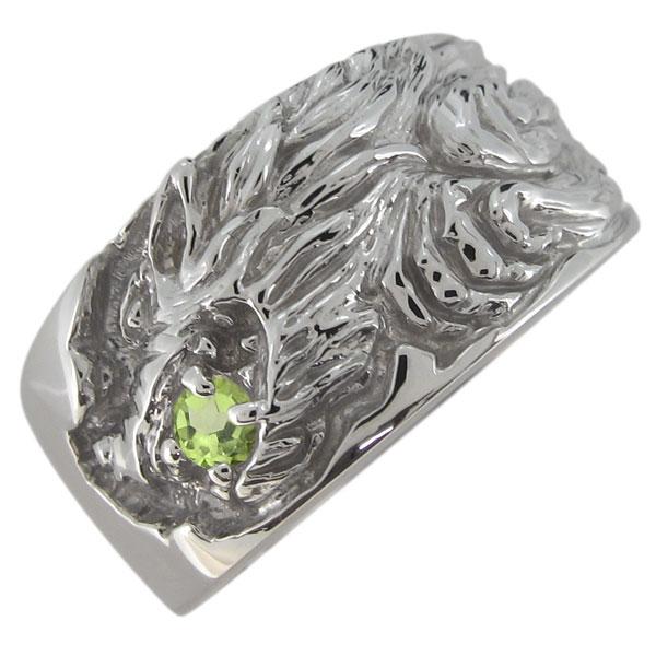 オオカミリング メンズ 指輪 ペリドット 狼 8月誕生石 プラチナ