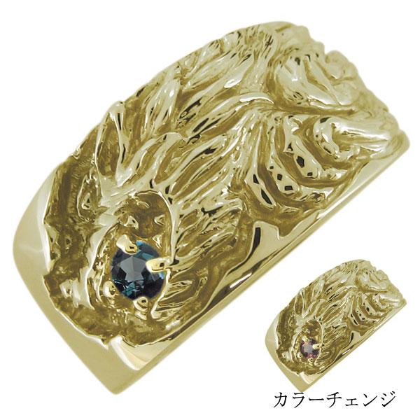 送料無料 アレキサンドライト メンズリング 狼 指輪 18金 入荷予定 オオカミ ウルフリング K18 メンズ メーカー直売