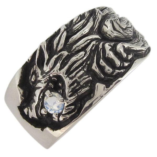 シルバーリング ウルフ 狼 ロイヤルブルームーンストーン 6月誕生石 メンズ 指輪 シルバー
