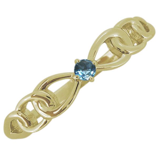 レディース ブルートパーズ リボンモチーフ リング 一粒 18金 指輪