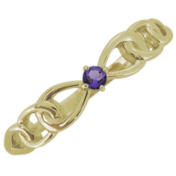 レディース アメジスト リボンモチーフ リング 一粒 18金 指輪