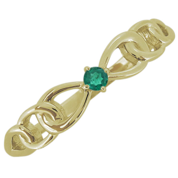 レディース エメラルド リボンモチーフ リング 一粒 18金 指輪