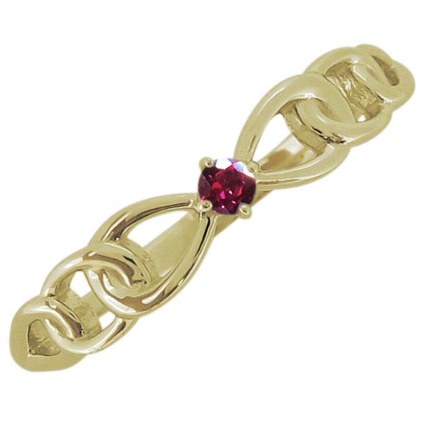 レディース ルビー リボンモチーフ リング 一粒 18金 指輪