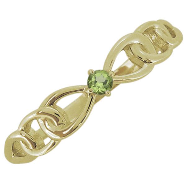 レディース ペリドット リボンモチーフ リング 一粒 18金 指輪