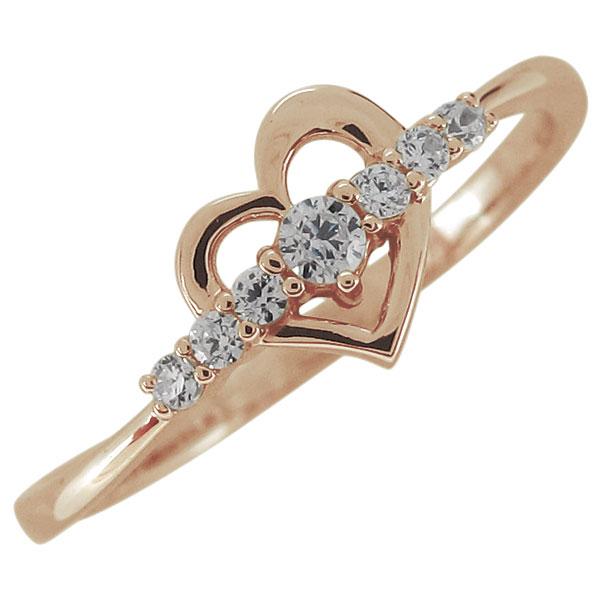 ハート 指輪 リング 4月誕生石 ダイヤモンド レディース 10金