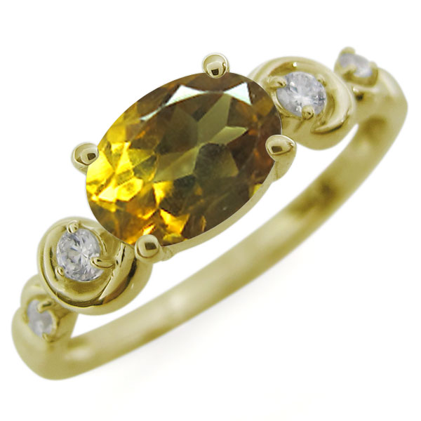 オーバル・シトリンリング・大粒・10金・指輪