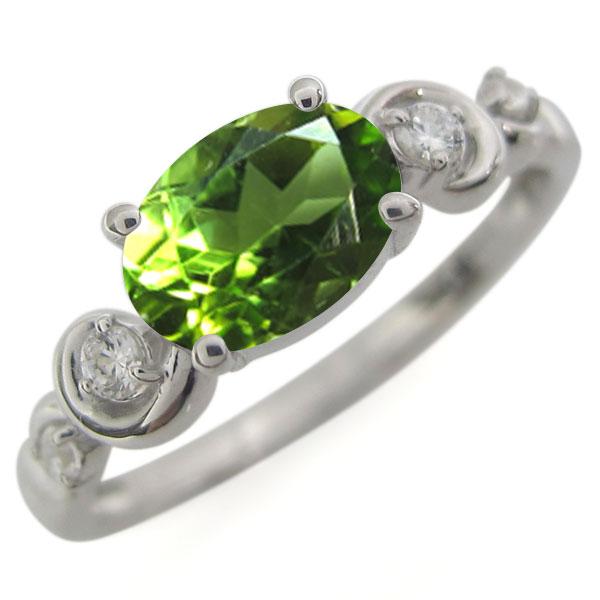 ペリドット・指輪・オーバル・プラチナ・レディース・大粒・リング 母の日 プレゼント