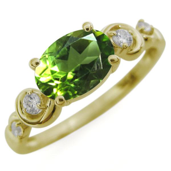 オーバル・ペリドットリング・大粒・10金・指輪
