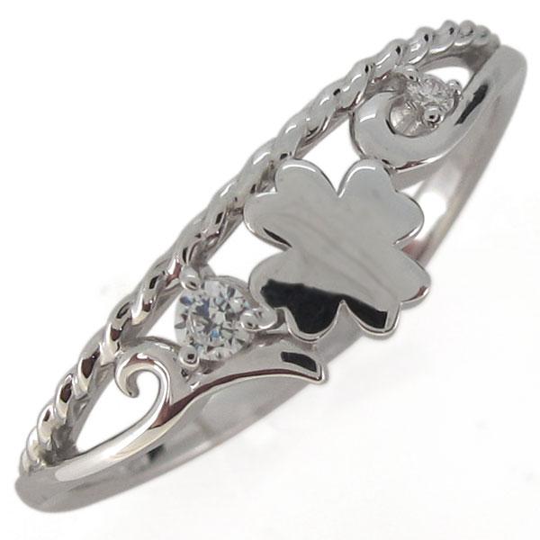指輪・クローバー・ダイヤモンド・4月誕生石・唐草・プラチナ・レディース 母の日 プレゼント